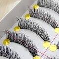 Envío gratis hot sale10 Pares encantadores de moda hecha A Mano Tallo de Algodón Pestañas Falsas Cruzadas pestañas Natural a Largo Gruesas pestañas Falsas