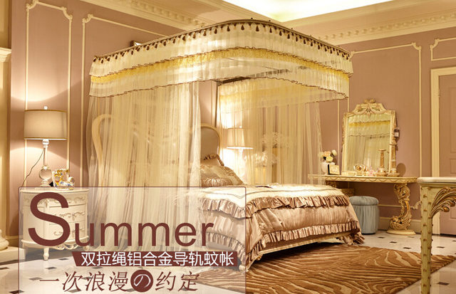 Charming New Lead Telescopic Mosquito Net U Type For Big Double Bed Mesh Stainless  Steel Bracke Convenient