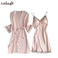 Fdfklak Fashion Women Sexy Lace Silk Robe & Gown Set Free Ship 2 Pcs Sleepwear Dress+ Bathing Robe Bridesmaid Wedding Wear