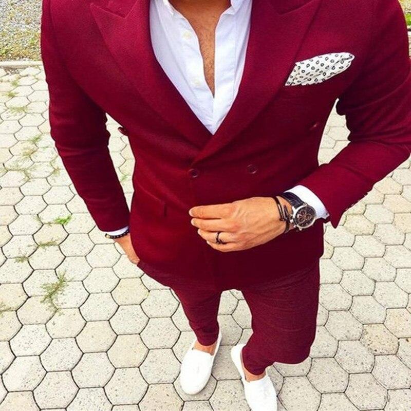 Blazer Masculino Peaked Lapel Double Breasted Men Suit (Jacket+Pant) Costume Homme Mens Suits Fashion Latest Coat Pant Design