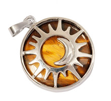 FYJS Unique Silver Plated Sun and Crescent Moon Round Shape Natural Tiger Eye Stone Pendant For Men Jewelry