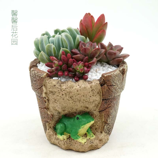 Creative Resin Animal Cartoon Flower Pots Micro Landscape Artificial Flower  Succulent Plants Pot Home Desk Garden