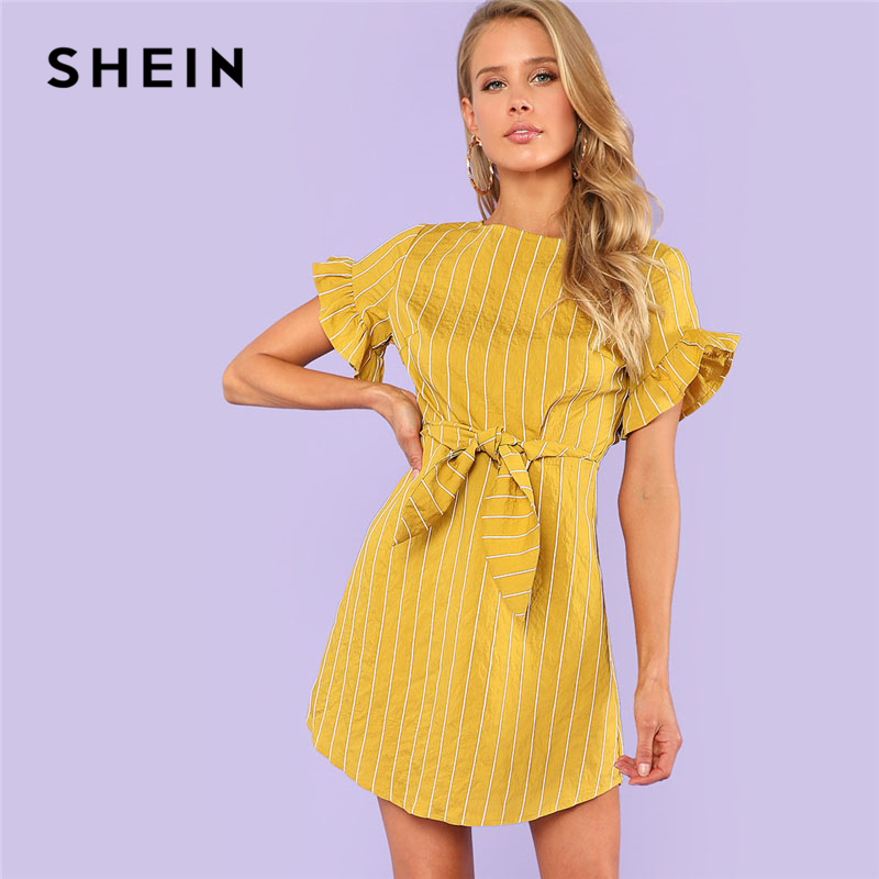 SHEIN Yellow Flounce Sleeve Striped Dress Women Ruffle Round Neck Short Sleeve Loose Short Dress 2018 Summer Zipper Casual Dress