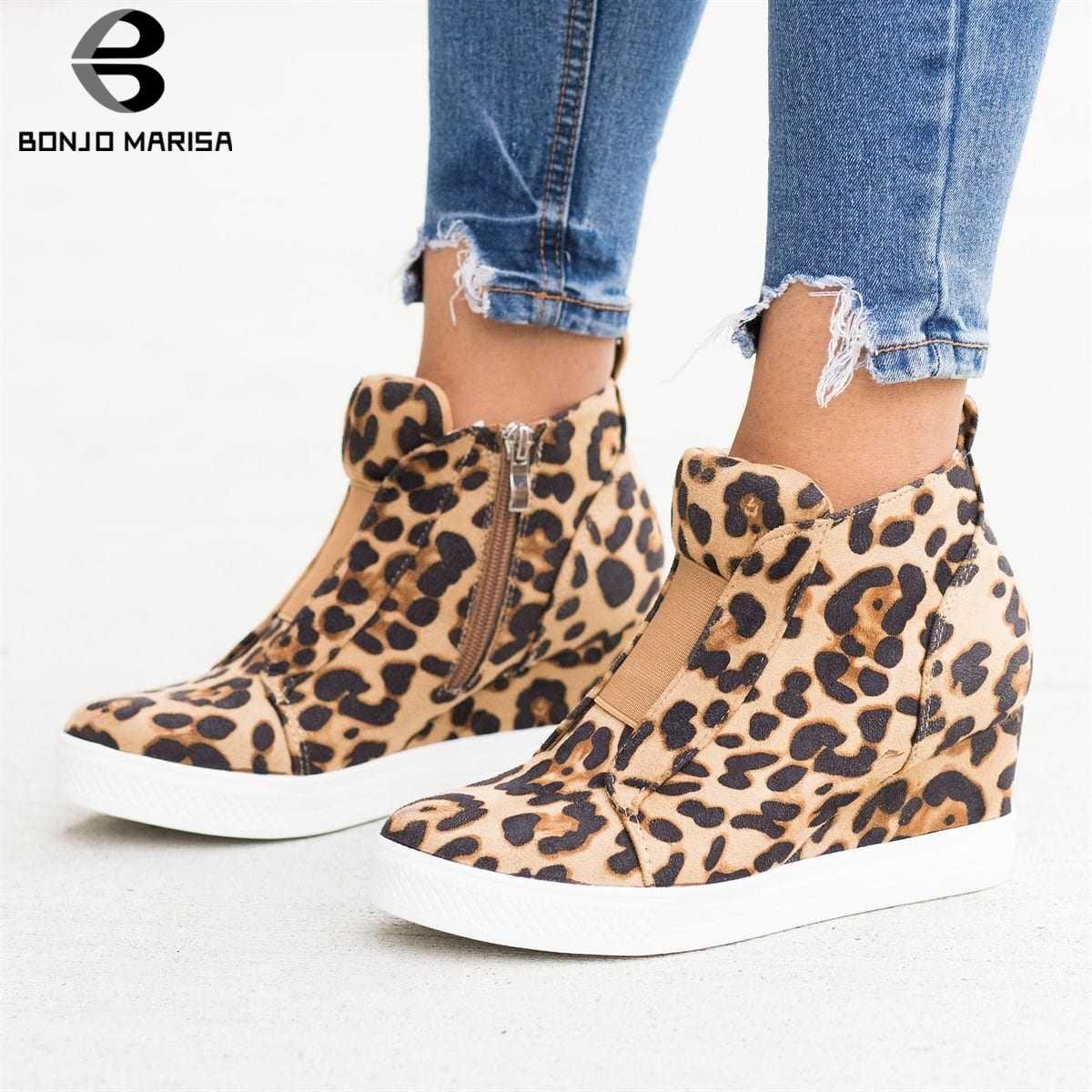 BONJOMARISA 2019 Yeni INS Sıcak Leopar Platformu Patik Kadınlar 2019 Sonbahar Moda Kadınlar Ayak Bileği Takozlar Çizmeler Ayakkabı Kadın 35- 43