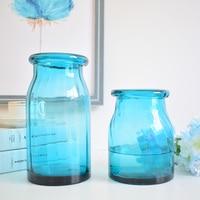 modern transparent blue glass vase terrarium for flower arrangements wedding decoration home hydroponic aquarium bamboo plant