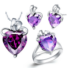 Plated NEW platinum suit 925 sterling silver set made of purple stone necklace semi precious stones