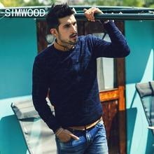 Simwood Новое поступление 2017 года осень известный бренд тонкий Повседневное круглым вырезом Для мужчин свитер полосатый пуловер Для мужчин S Бесплатная доставка MY362