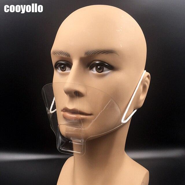 50 Stks/doos Draagbare Anti Fog Transparante Plastic Masker Mond Cover Speeksel Beschermen Tattoo Makeup Hotel Keuken Supply Accessoires