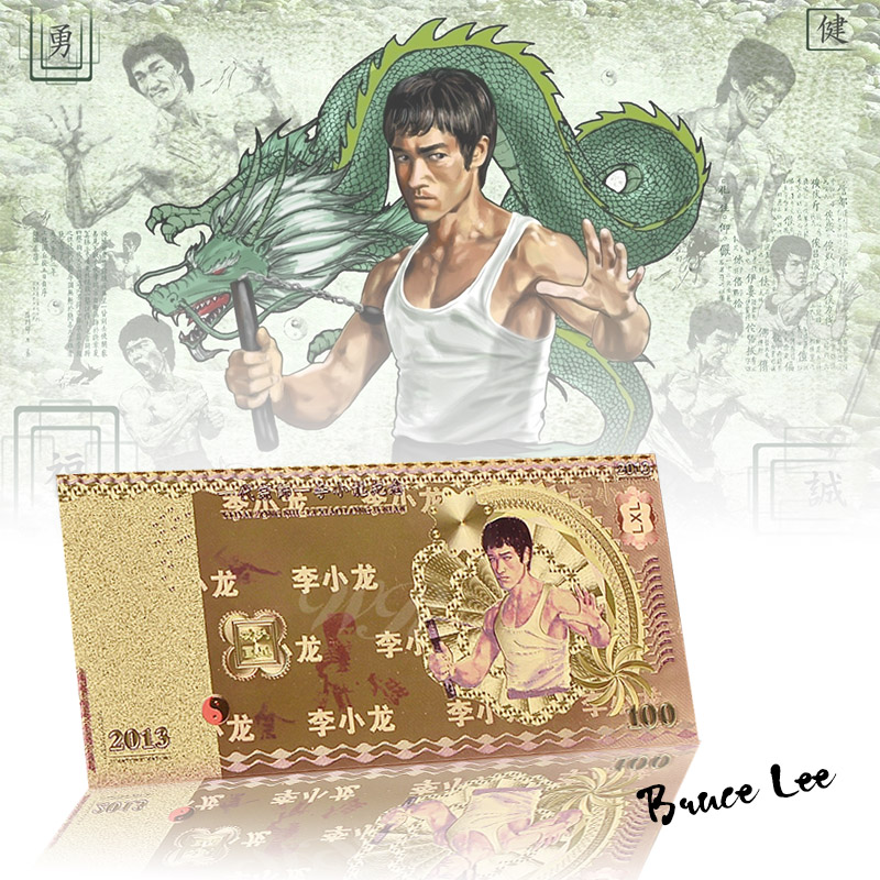 Amazing Gold Foil Banknote Bruce Lee 100 Commemorate Banknote Fancy Colorful Fake Money