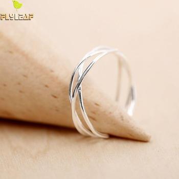 925 Sterling Silver Line Winding Shape Open Ring