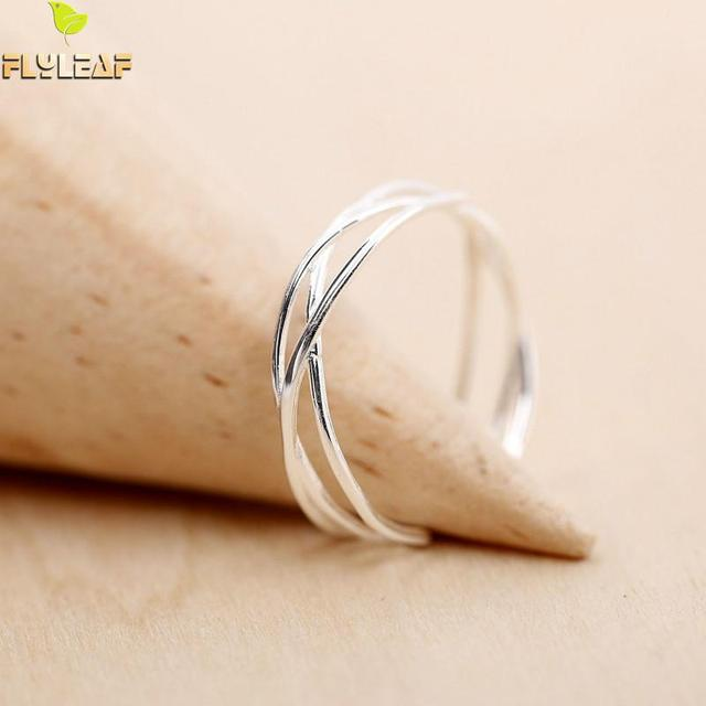 Flyleaf 100% 925 Sterling Silver Line Winding Shape Open Rings For Women Creativ