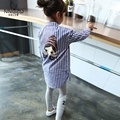 2016 New Spring and Summer Girls Shirt Kids Blue Stripe Blouse Casual Children Cotton Cartoon Blouse Long Style,2-7y
