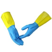 Бесплатный shippin 3 пар длина 30 см желтый труда защиты природных резиновые перчатки безопасности по предотвращению от химической кислоты и щелочи