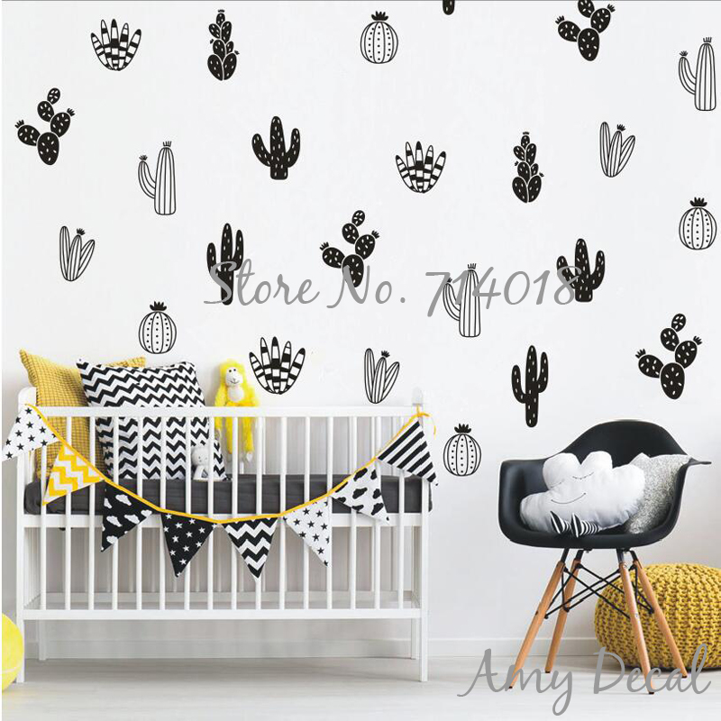 Us 8 98 25 Off Cactus Wall Decals Woodland Tribal Stickers For Kids Room Boy Nursery Decor Art Succulent And Cacti Tattoo A813 In