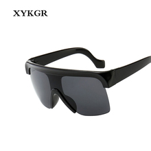 XYKGR new retro Siamese sunglasses men and women oversized box windproof sunglasses women's black red fashion glasses UV400 chic rhinestone and leaf shape embellished black and red sunglasses for women