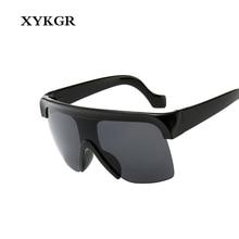 XYKGR new retro Siamese sunglasses men and women oversized box windproof womens black red fashion glasses UV400