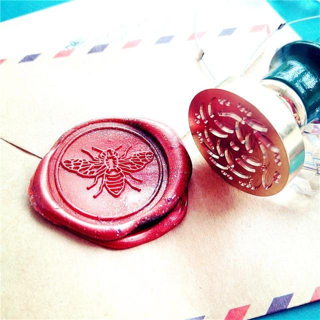 For DIY Crawn Bee Pattern Wax Seal Stamp Retro Wooden Antique Sealing Wax Scrapbook Stamps Craft Wedding Decorative Invitation