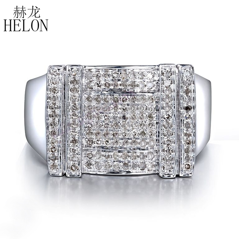 HELON Men's Jewelry Gift Real 925 Sterling Silver Pave Setting 0.5ct 100% Genuine Natural Diamond Wedding Ring Trendy Party Ring hf carbon film resistors led development board kit multicolored