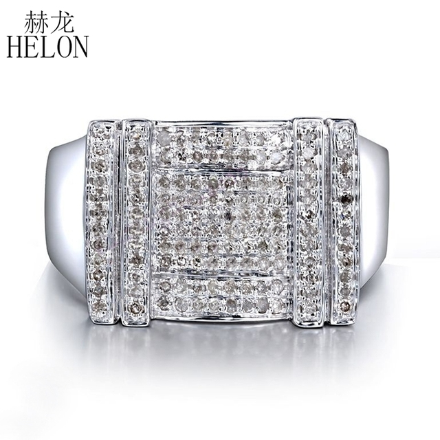 HELON Men's Jewelry Gift Real 925 Sterling Silver Pave Setting 0.5ct 100% Genuine Natural Diamond Wedding Ring Trendy Party Ring