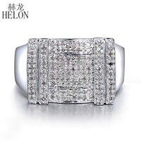 HELON men's ювелирные изделия подарок настоящее серебро 925 проба проложить Установка 0.5ct 100% подлинное натуральное бриллиантовое обручальное кол