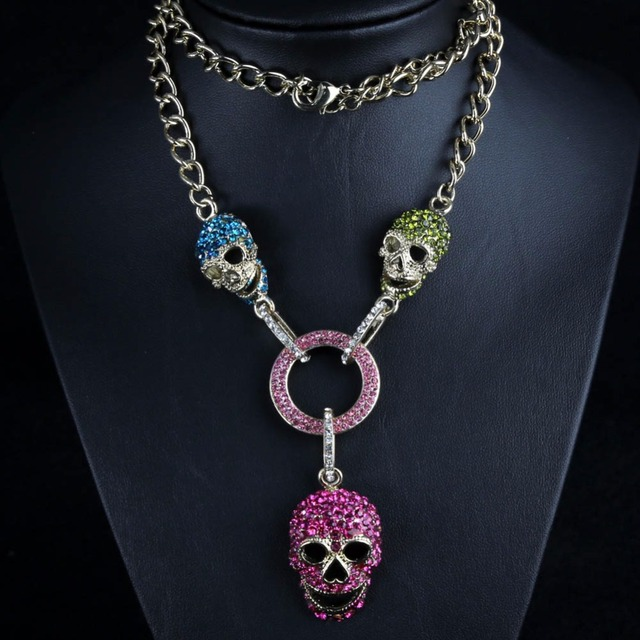 Cráneo Esqueleto Colgante Gargantillas Joyas de Cristal Collar de diamantes de Imitación Accesorios de Acero Inoxidable de La Vendimia para Los Hombres de Las Mujeres