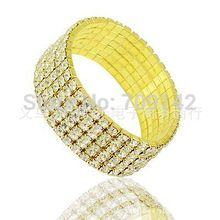 Mens 6 Row Yellow Gold Finish Silver Rhinestone Crystal Adjustable Stretch Wedding Bangle Bracelet wholesale 12pcs bracelets