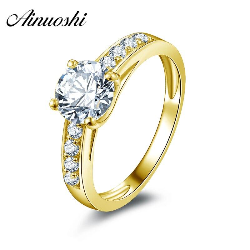 AINUOSHI 10 k Solide Jaune Bagues de Fiançailles En Or 1.25 ct Hotting Vente Simulé Diamant Fine Bijoux Lady Anneau De Mariage Personnalisé