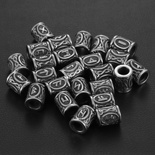 Stainless Steel Viking Rune Beads for Hair Beards Large Hole 8mm Bead Elder Futhark Jewelry Bracelet Making DIY Accessories