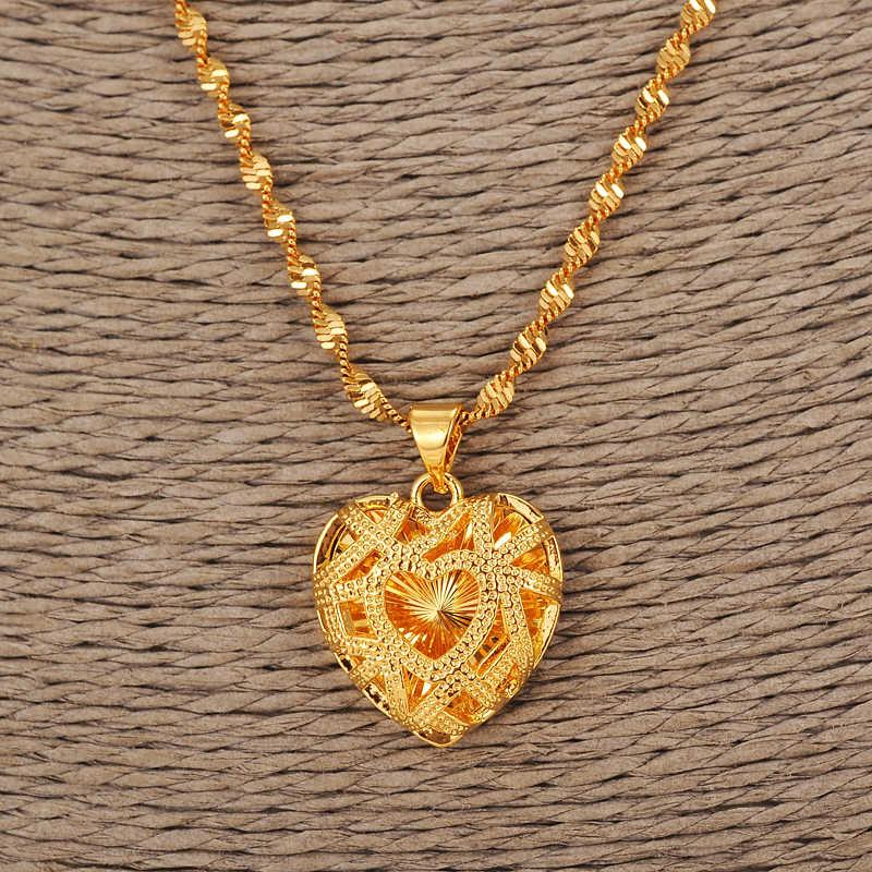 Colgante de oro sin collar lleno de oro romántico amor corazón joyería Vintage mujeres niñas regalo del Día de San Valentín regalo de la madre