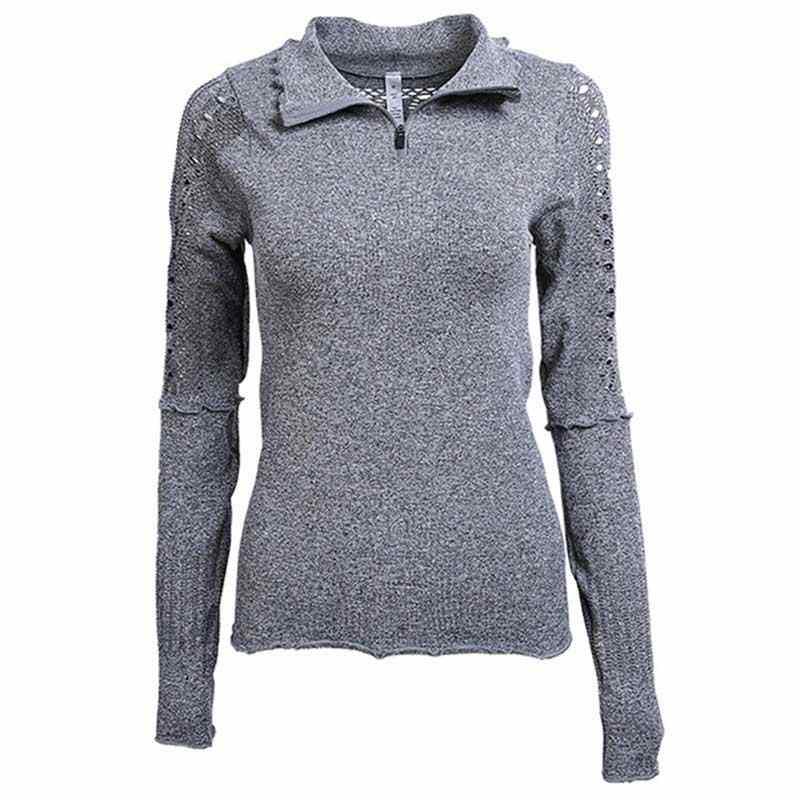 Women Fitness Tops Workout Training Exercise Gym T Shirts Sport Sweatshirt T-shirt Yoga Zipper Running Long Sleeve Tees Y1808