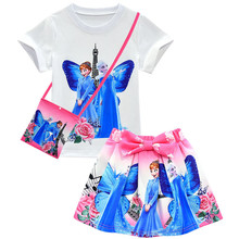 Girls Clothes Sets Kids Elsa Anna Snow Queen 2019 Halloween Carnival Party Costume Baby Girl Princess T-shirt And Skirt Bag Set