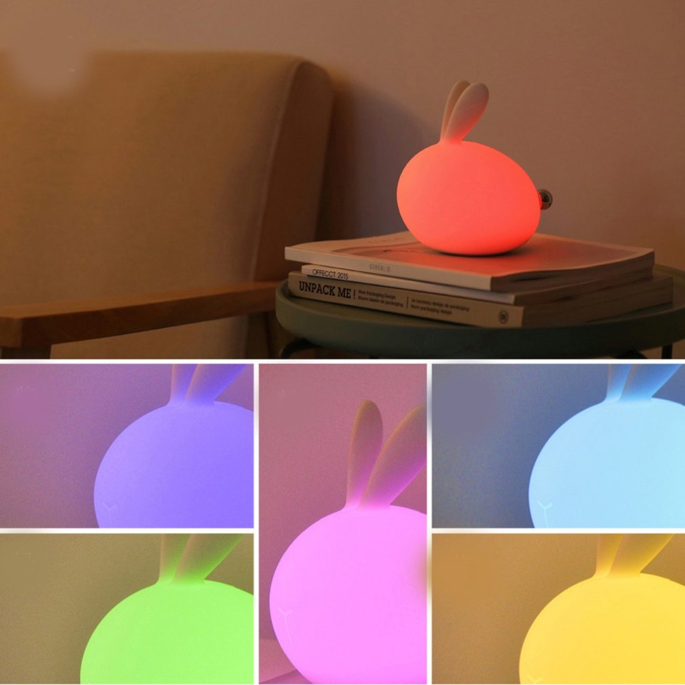 7 Colors Cartoon Bunny Lamp Colorful Brightness Change Color Led Pat Light Usb Rechargeable Silicone Night Light Soft Handle