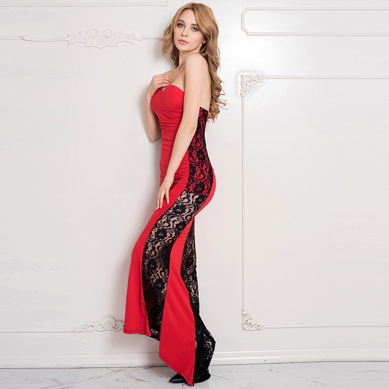70210 Hot Sale Maxi Dress Plus Size Black Lace Patchwork Red Sleeveless Women  Fashion Dress Floor Length Long Strapless Dress-in Dresses from Women s ... dab1e962c