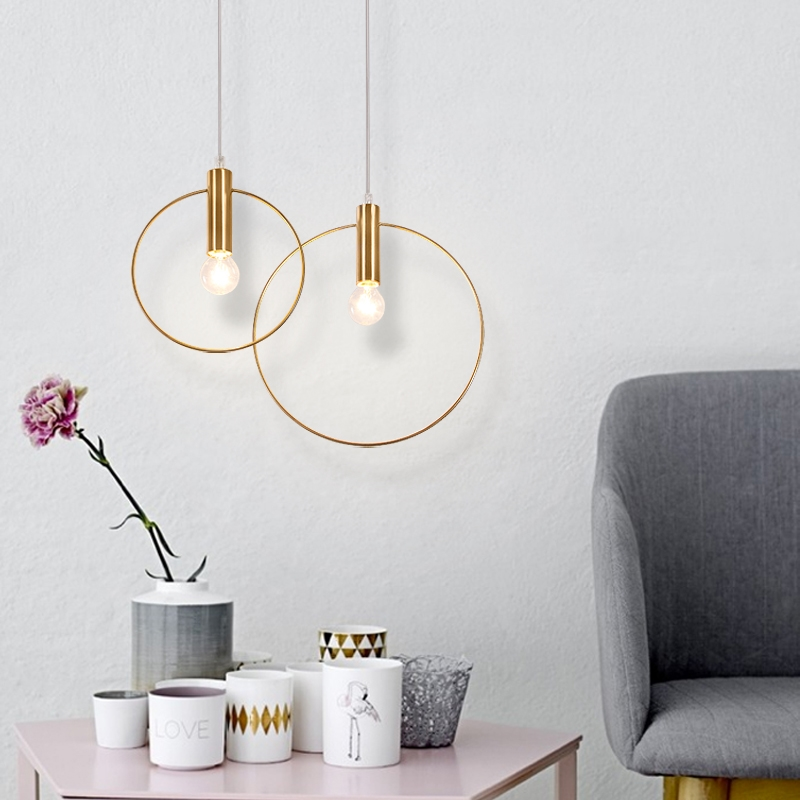 GZMJ Modern Gold Copper Circle Round Pendant Lights Led Hanglamp Home Fixtures Kitchen Home Lights Lampshade Luminaire