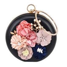Rund pu Blume Frauen Clutch Abendtasche Schöne Schwarz Wristlets Floral party Hochzeit Tasche pochette Weiblichen Handtasche