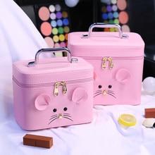 PU Cosmetic box 2019 Korean professional cosmetic bag Cartoon Cute large capacity toiletry New Lovely travel makeup