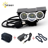 TSLEEN 1PC IPX7 Waterproof Rechargeable 3LEDS XM L T6 LED Cycling Lamp Headlight Flash Light Safety