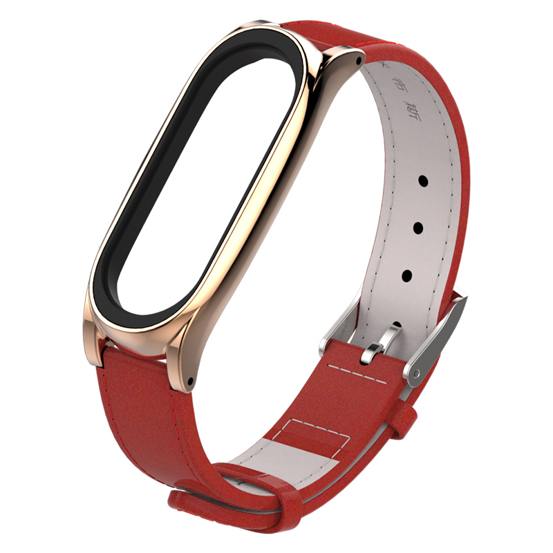 Image 4 - For Xiaomi Mi Band 3 Genuine Leather Strap Metal Frame For MiBand 3 Smart Bracelet XiaoMi Mi Band 3 Replace Strap Accessories-in Smart Accessories from Consumer Electronics