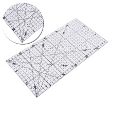 1PC Transparent Quilting Sewing Patchwork Foot Aligned Ruler Grid Cutting Tailor Craft Scale Rule Craft Sewing Tools 30*15cm(China)