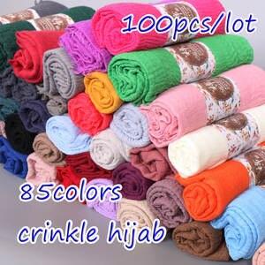 Viscose Scarf Wraps Hijab Bubble Women Shawl Wrinkle Plain Muslim Cotton 100pcs/Lot 85-Colors