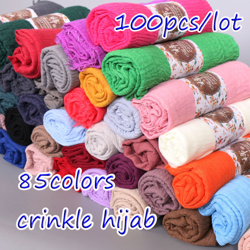 100pcs/lot plain crinkled hijab bubble cotton viscose   scarf   muslim hijab   wraps     scarves   Wrinkle Hijab women shawl 85 colors