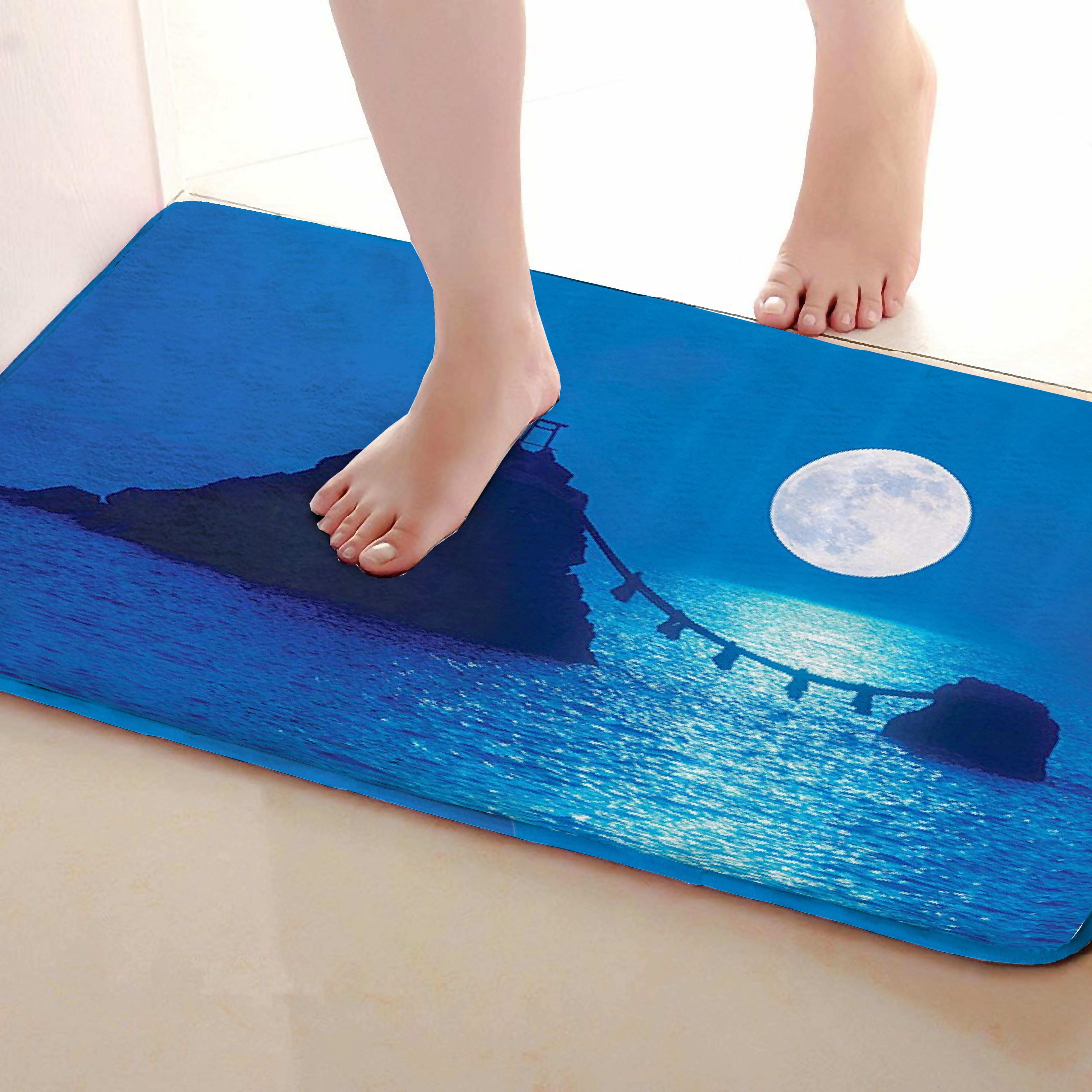 Moon Style Bathroom Mat,Funny Anti skid Bath Mat,Shower Curtains Accessories,Matching Your Shower Curtain