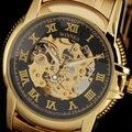 ПОБЕДИТЕЛЬ Новая Мода Часы Мужчины Luxury Brand Золотой Ободок Автоматические Механические Римский Sketeton Набрать Полный Стали Мужчины Наручные Часы