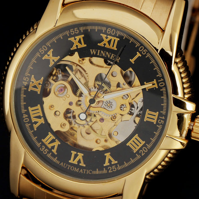 WINNER New Fashion Watches Men Luxury Brand Golden Bezel Automatic Mechanical Roman Sketeton Dial Full Steel