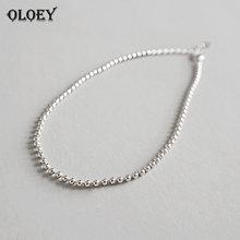 OLOEY, простой, 2 мм, бусины, ножные браслеты для женщин, настоящее 925 пробы, серебро, ножной браслет, ювелирные изделия для ног, браслет, изысканные, вечерние, ювелирные изделия YMA032