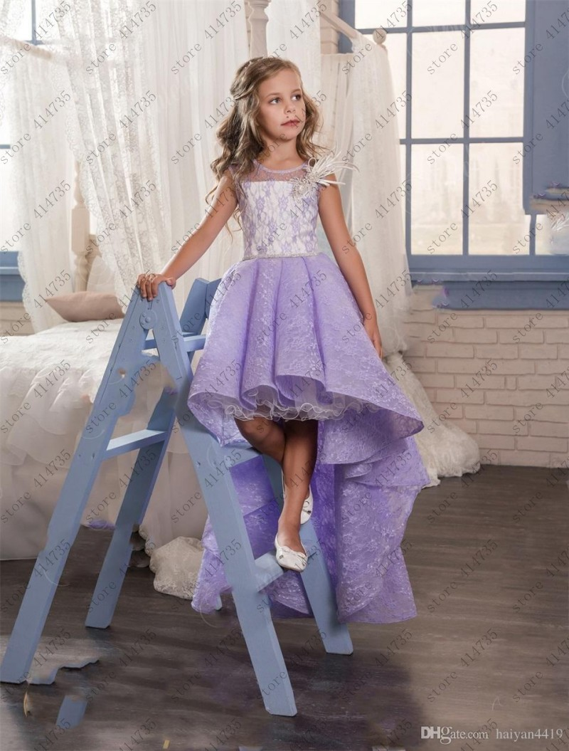 Cute vestidos de daminhas de honra 2019 purple lace   girls   first communion   dresses   high front low back   flower     girl     dress
