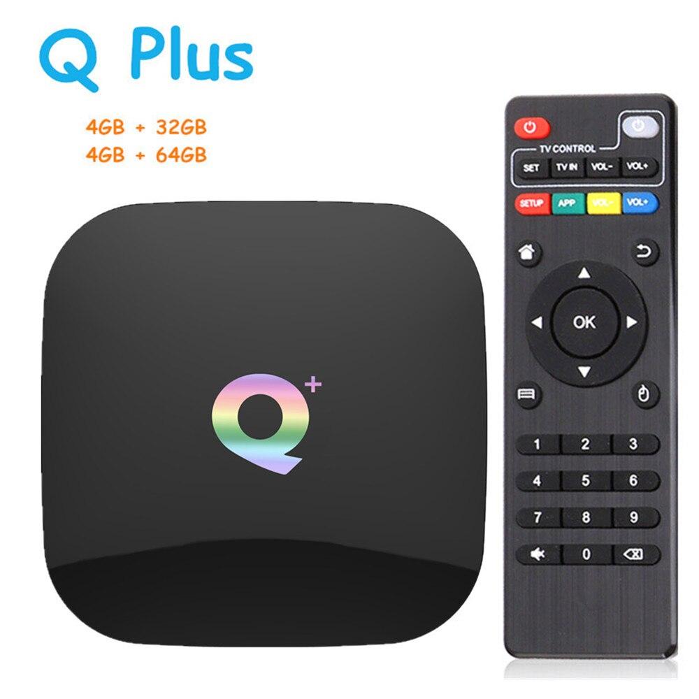 Q Plus Smart TV Box Android 8.1 TVBox 4 GB Ram 32 GB/64 GB Rom 6 K H.265 USB3.0 2.4 Ghz WiFi IP TV décodeur PK s905x2 T95Q x96 max