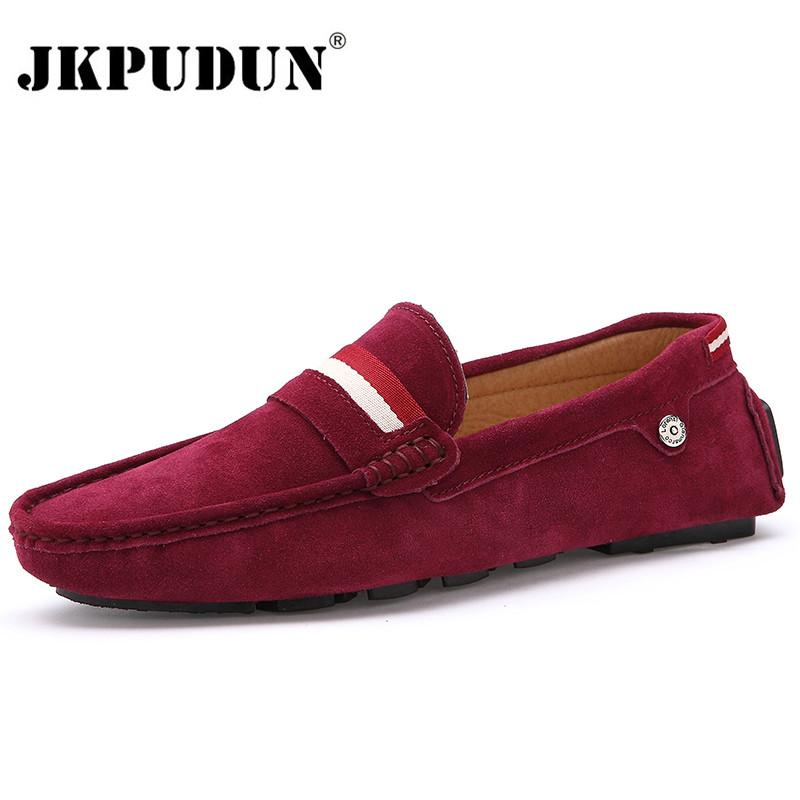 JKPUDUN Slip On Suede Leather Men Flats Fashion Big Size Men Moccasins Casual Leather Men Shoes Luxury Brand 2017 Mens Loafers nightclub luxury fashion slip on embossed leather dress shoes flats big size men moccasins casual shoes mens loafers espadrilles