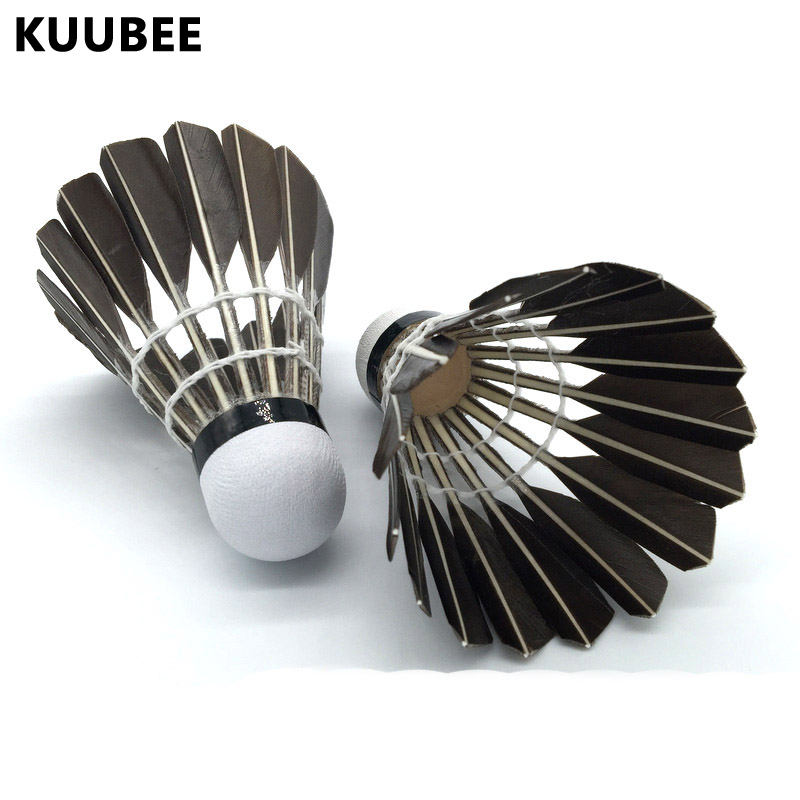 Shuttlecock 12pcs Goose Feather Flight Stability Resistance Unilateral Training Badminton Ball