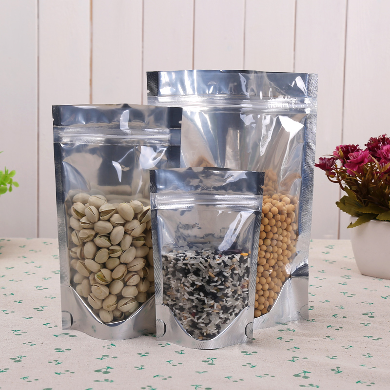 26*38cm,100 X Stand translucent aluminium ziplock bag - One side clear Resealable Metallic mylar foil plastic pouch zipper seal